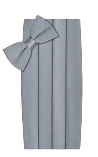 T.R. Preston & Co Men's Formal Bowtie and Cummerbund Set, Silver (Silver Cummerbund)