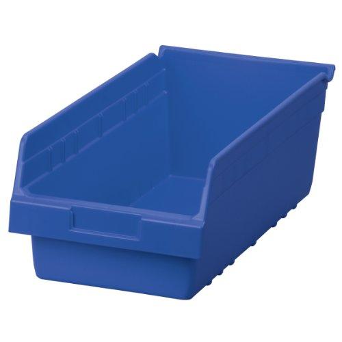 (Akro-Mils 30088 ShelfMax Plastic Nesting Shelf Bin Box, 18-Inch L by 8-Inch W by 6-Inch H, Blue, Case of)