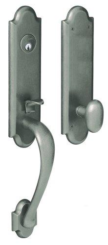 Nickel Dummy Boulder - Baldwin 85354.452.FD Boulder 3/4-Inch Escutcheon Handleset Emergency Egress with Oval Knob, Distressed Antique Nickel