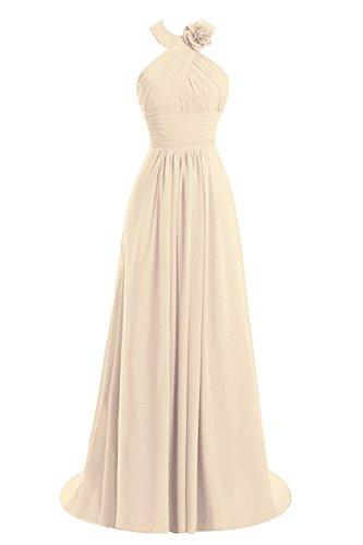Dresses Chiffon Halter AN303 Long Champagne Anlin Bridesmaid Backless Long Prom Women's Gown RaxRUwzq0C