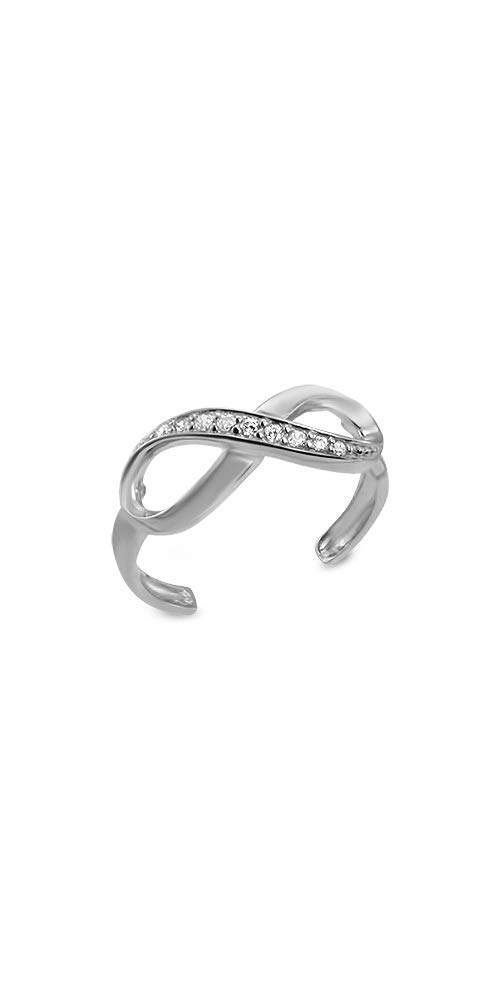 14k White Gold Toe Ring Infinity CZ. Size Adjustable by Nose Ring Bling