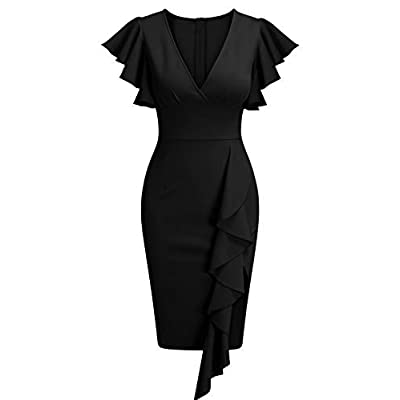 Knitee Women's Deep-V Neck Ruffle Sleeves Cocktail Party Pencil Slit Formal Dress: Clothing