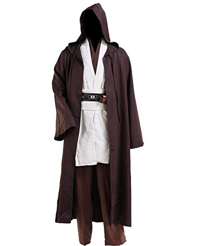 Halloween Tunic Costume Set Cosplay Outfit Brown with White (X-Large, White) -