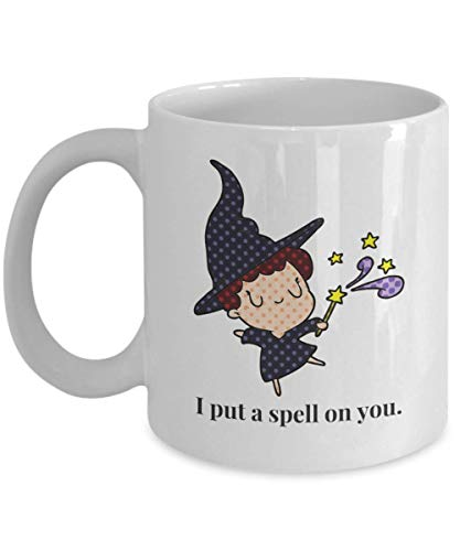 11oz I I put a spell on you Halloween Printed Ceramic Coffee Mug Water Tea Drinks Cup-Great gift Idea ()