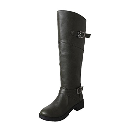 Sexy Leather Boots Heel Women Winter High Long BESTOPPEN 5UK Knight Low Soft Knee Buckle Fashion Shoes Brown Womens Shoes Girls Zipper Ladies Over The Casual Knee Boots Green Black Boots Shoes Flat 0aZ7RZq