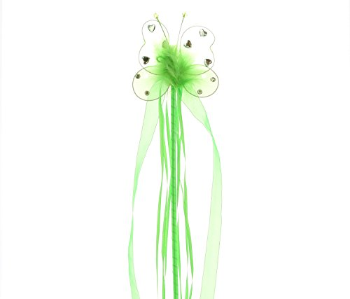 Mozlly Green Butterfly Heart Rhinestone 19.5 inch Wand with Ribbons - Costume Accessory, Ballerina, Dress up]()