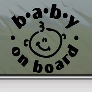 Baby On Board Black Sticker Decal Car Window Wall Macbook Notebook Laptop Sticker Decal