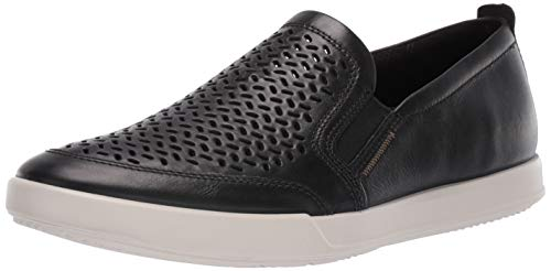 - ECCO Men's Collin 2.0 Slip On Sneaker, Black Perforated, 46 M EU (12-12.5 US)