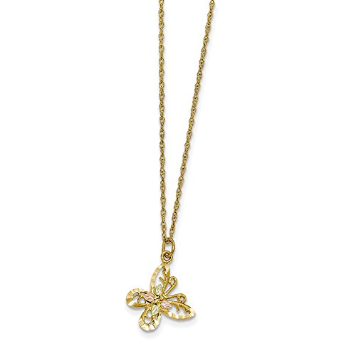 Lex & Lu 10k Tri-Color Gold Black Hills Butterfly Necklace-Prime