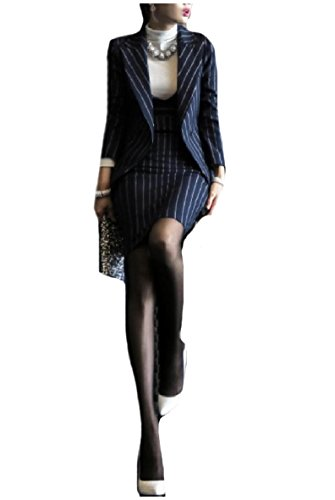 Coolred-Women Skirt Pinstripe Dresses Elegent 2 Piece Blazer Suits Navy Blue L (Navy Pinstripe Blazer)