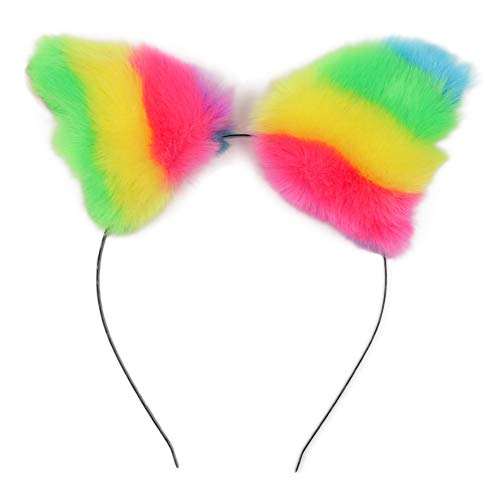 Cat Anime Hat - BAOBAO Women Girl Cat Fox Long Fur Ears Headband Party Cosplay Costume Hairband (Z-Rainbow)