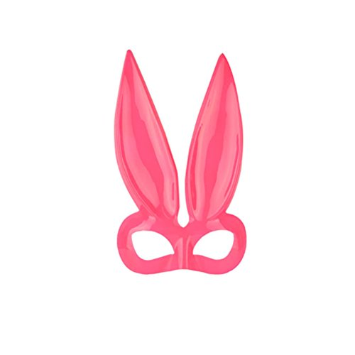 Tinksky Men Women Masquerade Bunny Rabbit Face Mask Halloween Costume Party Prom Mask for Cosplay (Pink)