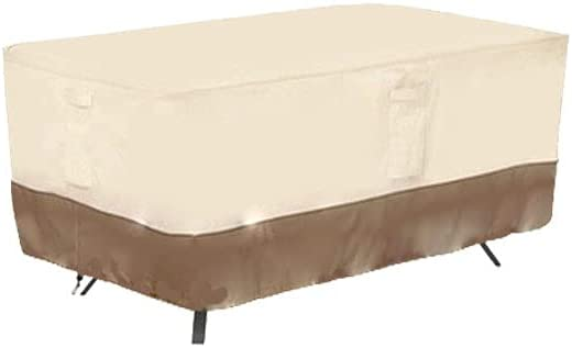 Rectangular Patio Table Cover Waterproof Outdoor Lawn Patio Furniture Cover with Padded Handles 72x44x22.8Inch Beige & Brown
