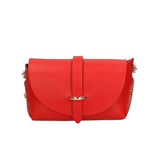 - Borsa donna a spalla con tracolla in vera pelle Made in italy - 18x11x9 cm (Colore : Brilliant Ancient Pink, Dimensione : -) Rosso