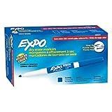 EXPO 86003 Low Odor Dry Erase Marker, Fine Point, Blue, Dozen