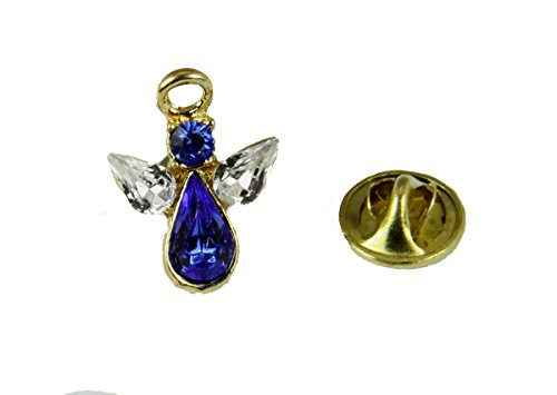 6030617 September Crystal Birth Month Angel Pin Guardian Lapel Brooch Tie Tack