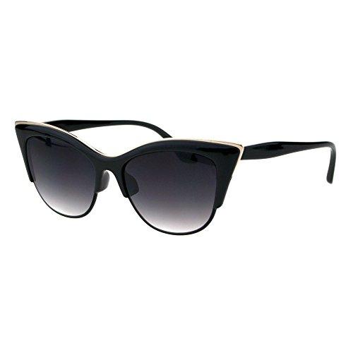 c666688b8a SA106¨ Womens High Point Squared Half Rim Look Cat Eye Sunglasses (Black