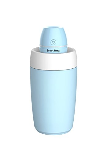 Smart Frog Portable Mini Clean Cool Mist Personal Humidifier/Ultra-Quiet Desk Air Humidifier with Water Bottle and LED/ Perfect for Travel, Home, Office,Bedroom or Car(Blue)