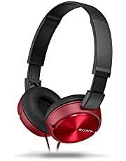 Sony MDR-ZX310AP Wired On-Ear Headphone with Mic, Red