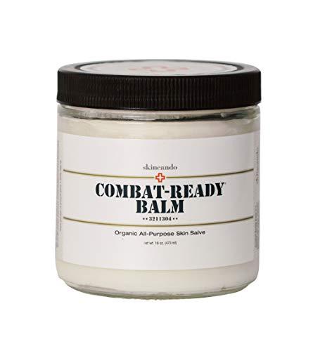 Combat Ready Skin Balm 8oz by Skincando All Natural – Intensive Moisturizer Skin Cream – Organic ingredients Apricot Kernel Oil Grapefruit Seed Extract Black Spruce – Black tea Moisturizer