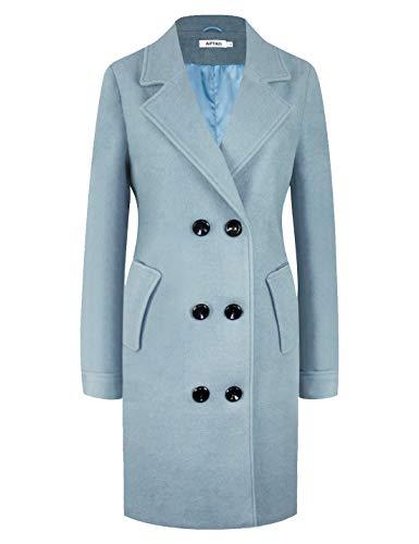 - APTRO Women's Winter Double Breasted Wool Coat Long Lapel Overcoat WS01 Light Blue S