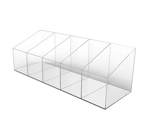 "FixtureDisplays Clear Plexiglass Acrylic Countertop Display with 5 Divided Bin - 8x8x24"" 100808"
