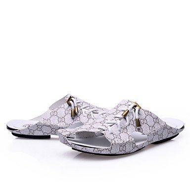 Zapatos de hombre casual Zapatillas de cuero marrón / azul / Gris / beige Gris