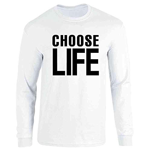Pop Threads Choose Life Retro 80s White L Long Sleeve T-Shirt