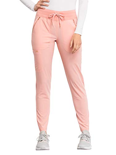 - Cherokee Statement CK055 Women's Mid Rise Straight Leg Drawstring Pant Peaches and Cream M Petite