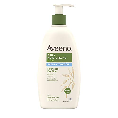 Aveeno Sheer Hydration Daily Moisturizing Lotion for Dry Skin with Soothing Oat, Lightweight, Fast-Absorbing & Fragrance-Free Intense Body Moisturizer, 18 fl. ()