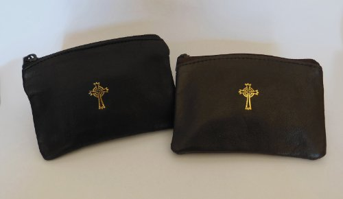 mds Sheepskin Leather Rosary Case Brown