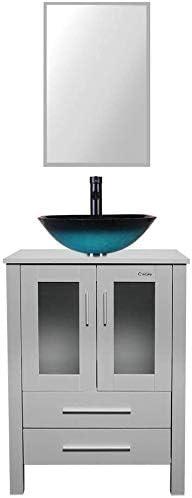 LUCKWIND Bathroom Vanity Vessel Sink Combo 24 Cabinet Stand Wood Mirror Storage 2 Door 2 Drawer Single