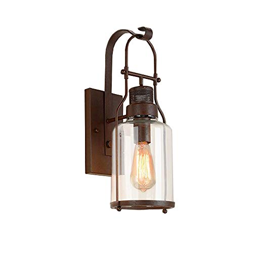 JINGUO Lighting Vintage Wall Sconce Industrial Glass Sconces Country Style Loft Lantern Wall Light Fixture Lights with Cylinder Glass Shade in Antique Rust Finish use E26 ()