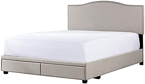Amazon Com Hillsdale Furniture Kiley Upholstered Queen Storage Bed Fog Fabric Furniture Decor