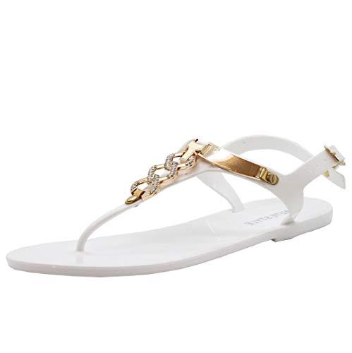 Aux Femmes Plage Été Diamante Sliders Gelée Flip Flop Sandales Taille 36-41 Blanc