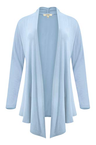 LUVAGE Womens Long Sleeve Draped Open Front Asymmetrical Cardigan Ice Blue