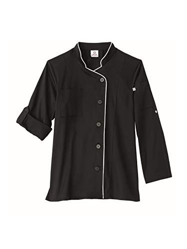 - Five Star Chef Apparel Ladies Long Sleeve Stretch Executive Coat (Black, X-Large)