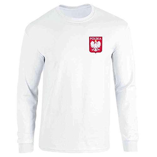 Poland Soccer Retro National Team Sport Football White L Long Sleeve T-Shirt ()