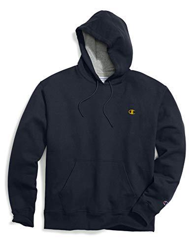 Gold Kangaroo Hoody Sweatshirt - Champion Men's Powerblend Pullover Hoodie, Navy/Team Gold Embroidered c Logo, Medium