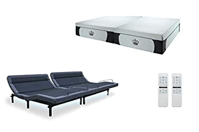 "DynastyMattress New 2019 Williamsburg Plus Adjustable Bed Massage, Head Tilt, Underbed Light, Dual USB Port by Leggett & Platt with 14.5"" CoolBreeze Plush Gel Memory Foam Mattress"