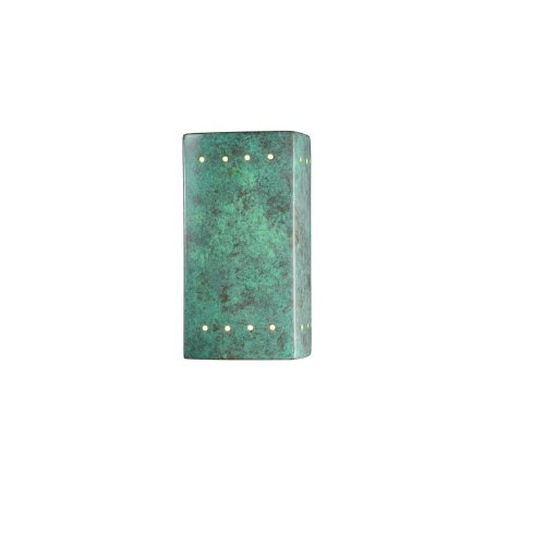 Patv Verde Patina Ceramic - Justice Design Group Ambiance Collection 1-Light Wall Sconce - Verde Patina Finish
