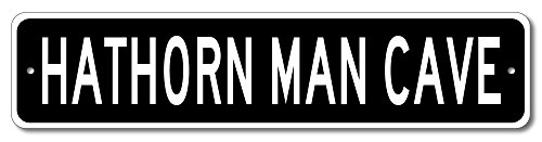 HATHORN Man Cave - Custom HATHORN Last Name Aluminum Sign -