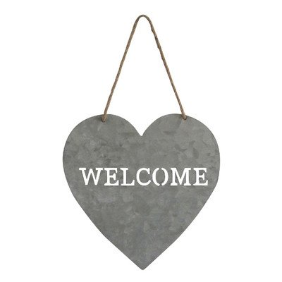 "Cheung's Heart Shaped Metal 9.5"" x 15"" Welcome Sign 