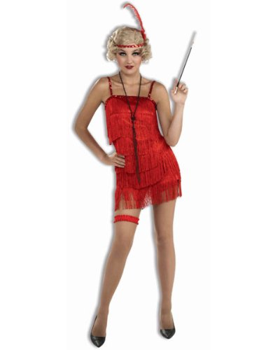 Forum Novelties Women's Roaring 20's Flirty Flapper Costume, Red, Medium/Large
