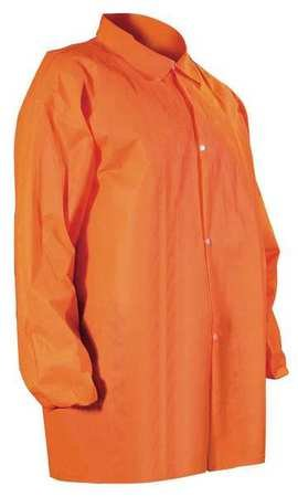Disposable Lab Coat, Orange, M, PK30 by CELLUCAP (Image #1)