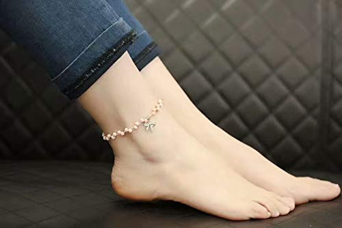foot chain anklet ankle bracelet jewelry garnet red spinel crystal facets 925 shell silver plated women girls flower necklace pendant lap lapis (pink coral