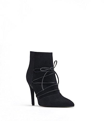 PoiLei Mila - chaussure femme / bottines en cuir à talon aiguille haut - avec bout pointu et design lacé bleu