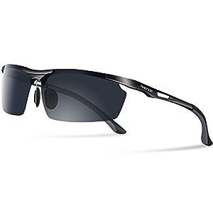 PAERDE Men's Polarized Sports Sunglasses for men Driving Cycling Fishing Golf Running Metal Frame Sun Glasses