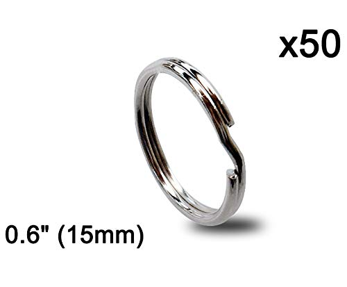 Key Ring/Key Chain, Split Round Metal Silver Keyring for Home/Car/Outdoor/Arts/Lanyards/CraftsKeys Organization(50 Pack 0.6 inches / 15mm) Chain 15 Mm Rings