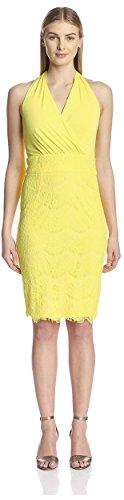 (Alexia Admor Women's Halter Lace Dress, Lemon, M)